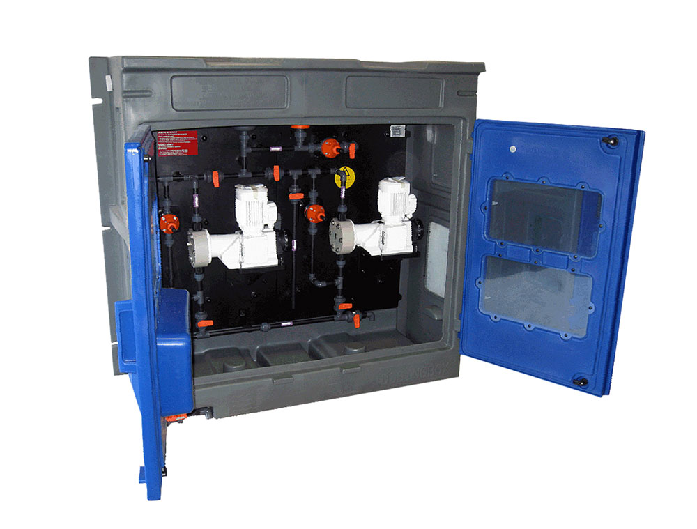 PCM Chemskid dosing system - opened view