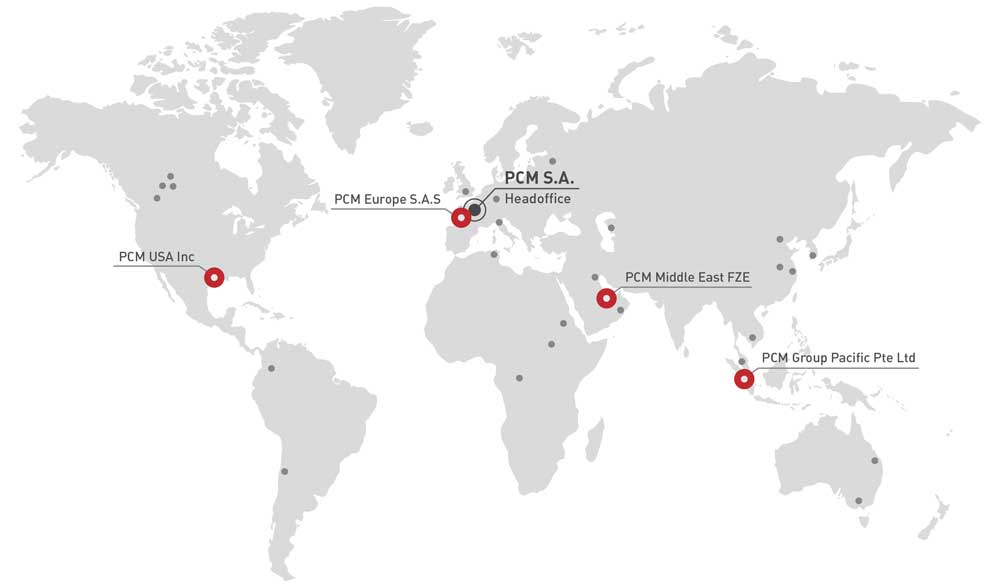 PCM contacts world map