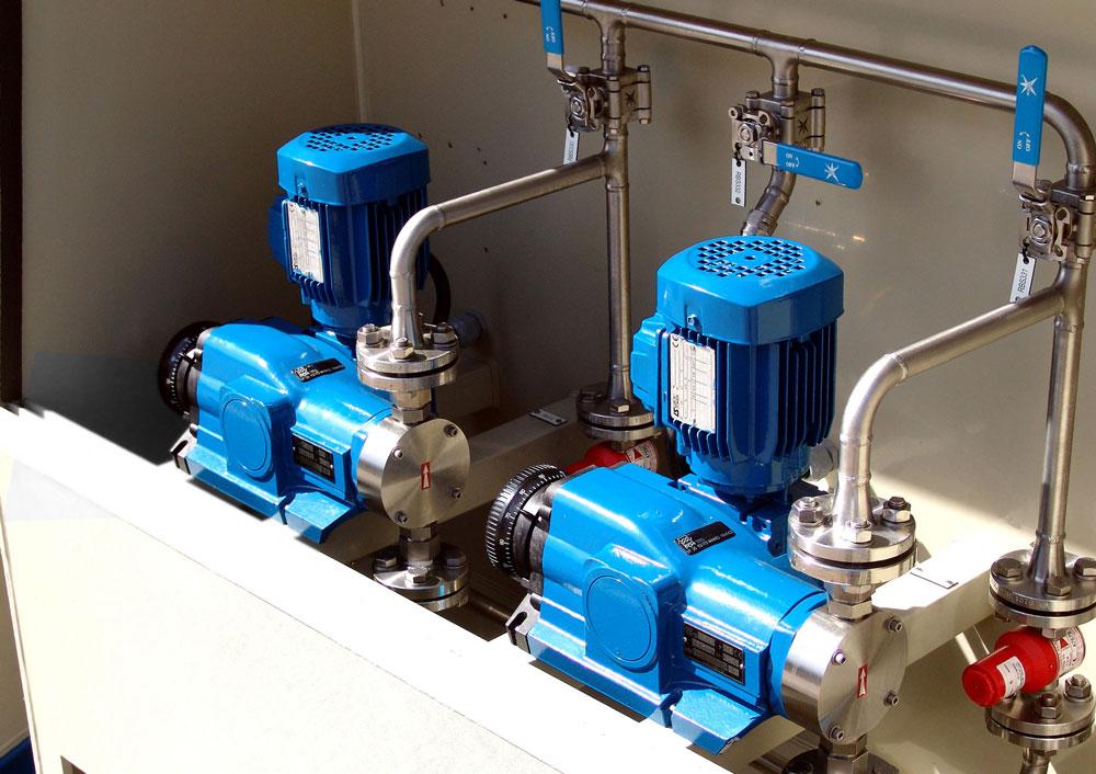 PCM Lagoa™ diaphragm dosing pump composing a system