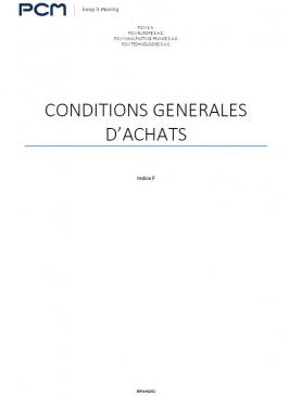 Conditions générales d'achats - PCM Europe SAS, PCM Technologies SAS, PCM Manufacturing France SAS