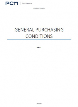 General purchasing conditions - PCM Group Italia SRL