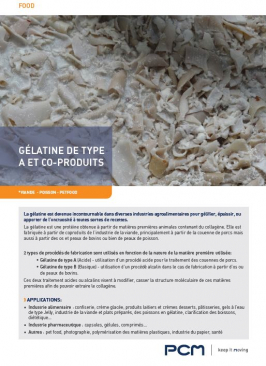 Fiche application - gélatine