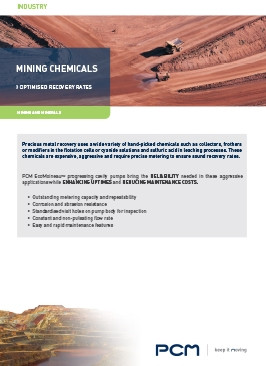 Application sheet mining chemicals