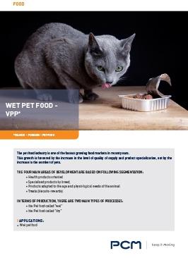 Application sheet wet pet food