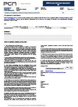 pcm non disclosure agreement